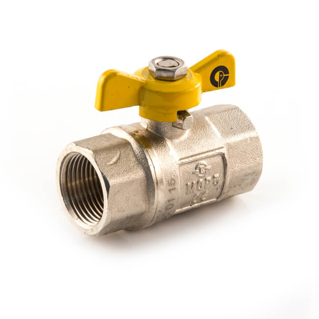 """Gas Ball Valve - 1/2"""" BSP TF Yellow Butterfly Handle"""