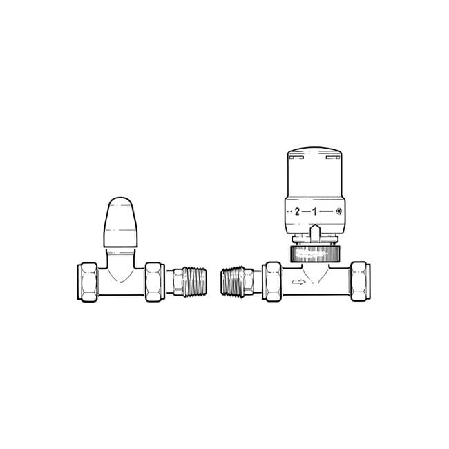 Straight TRV & Lockshield Pack - 10/15mm All Chrome