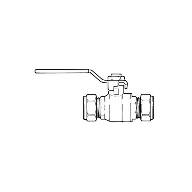 Ball Valve - 15mm Compression Red Lever Handle