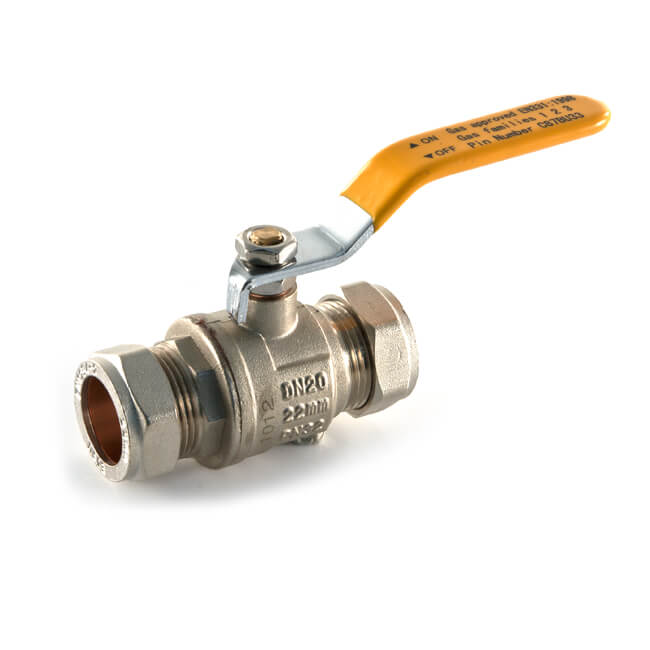 Gas Ball Valve - 15mm Compression Yellow Lever Handle