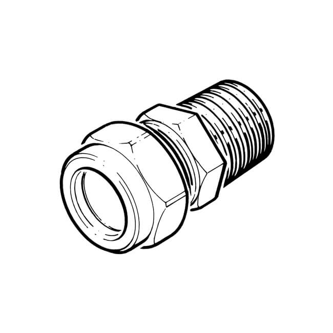 "LPG Metric Compression Straight Adaptor 15mm x 1/2"" BSP TM"