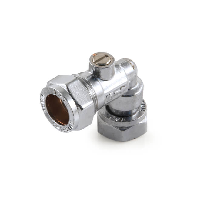Chrome Angled Service Isolation Valve 15mm x 1/2""