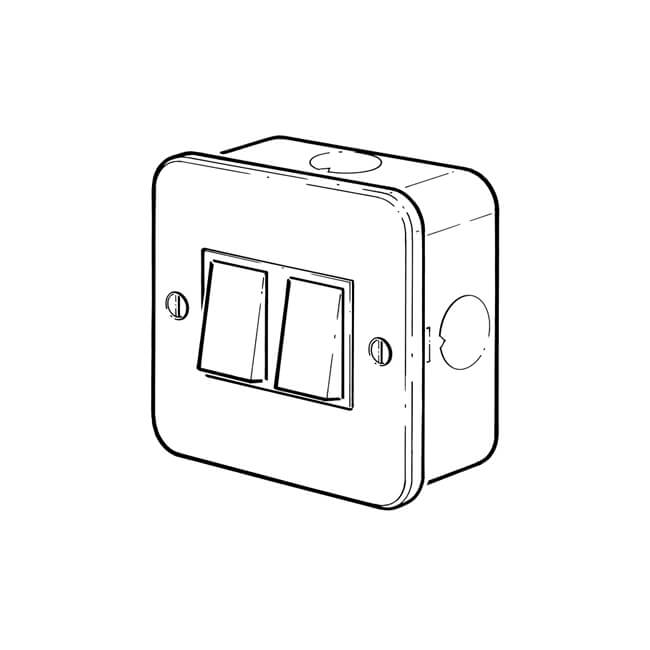 2 gang - 10 amp - 2 way surface mounted plate switch - 11511