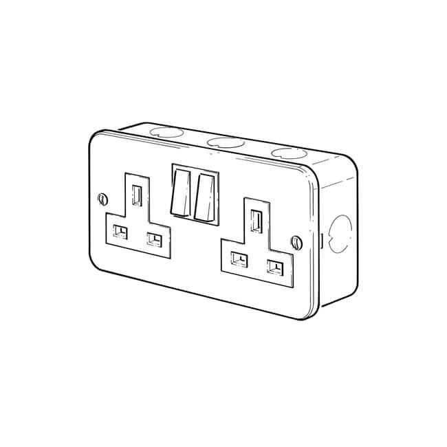 2 gang - 13 amp switched socket - 11509