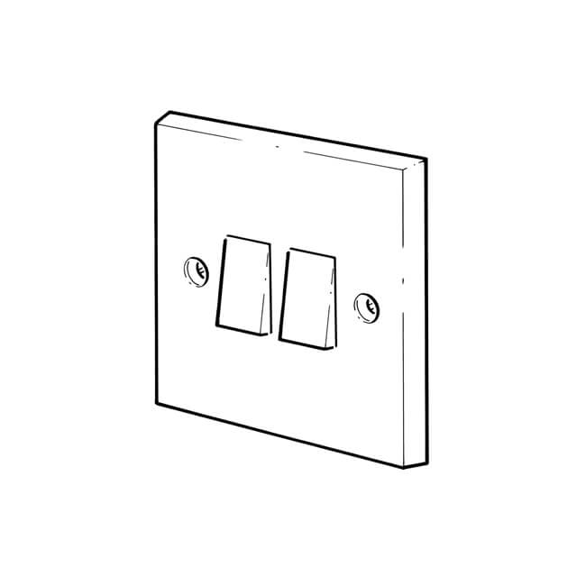 2 gang - 2 way plate switches - steel chromed - 10945