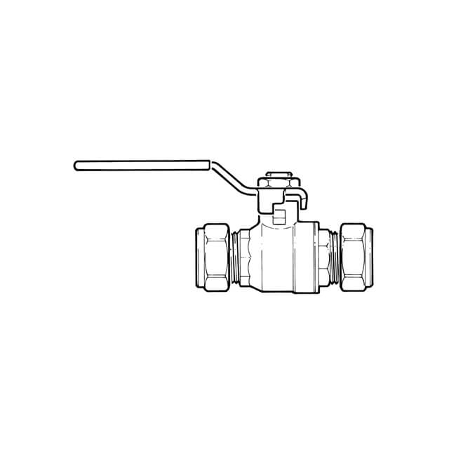 Gas Ball Valve - 22mm Compression Yellow Lever Handle