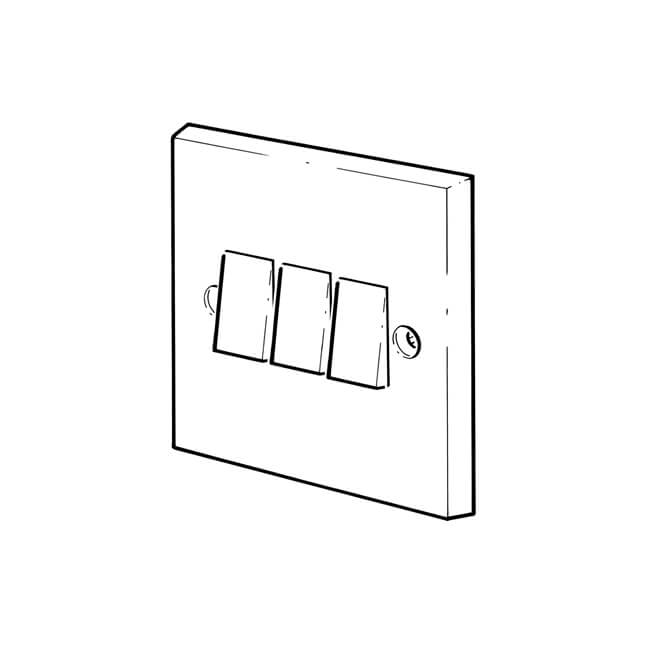 3 gang - 2 way plate switches - steel chromed - 10946