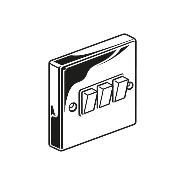 3 gang - 2 way plated switch - 16548