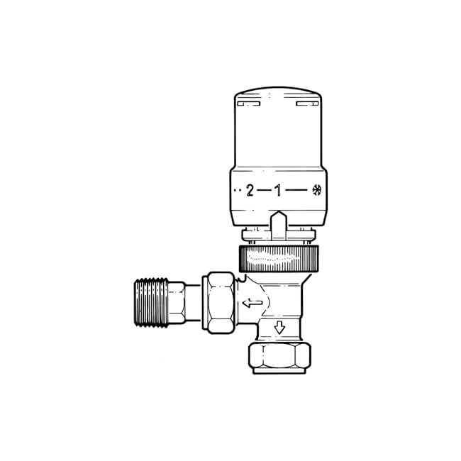 Angled Thermostatic Radiator Valve - 8/10/15mm