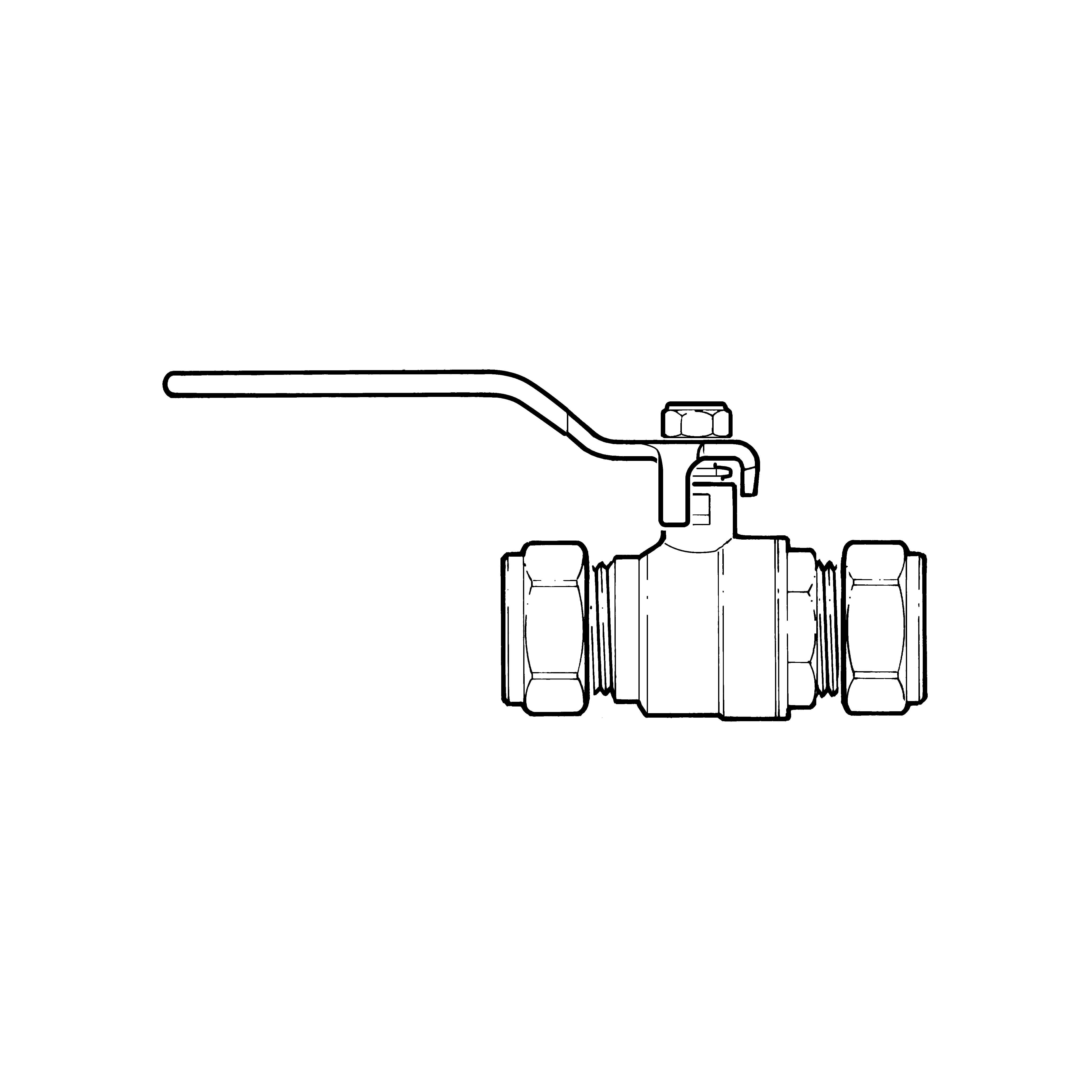 Ball Valve - 42mm Compression Blue Lever Handle