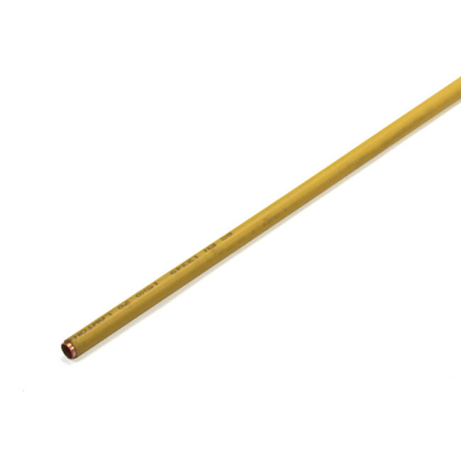 Copper Tube 15 mm x 3 m (0.7 mm Wall) - Yellow Plastic Coated
