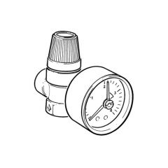 "Safety Relief Valve 3 Bar with Gauge 1/2"" BSP M x F"