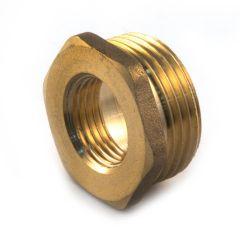 """Brass Threaded Hexagon Bush 1/2"""" BSP PM x 3/8"""" BSP PF"""