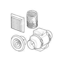 100 mm - In-Line Mixed Flow Fan Kit