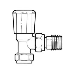 Angled Radiator Valve - 15mm with 15mm Tailpiece