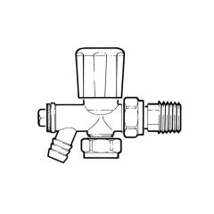 Radiator Valve - 15mm with 15mm Tailpiece & Drain Off