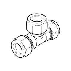 Compression Equal Tee Brass - 15mm