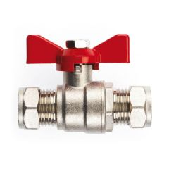 Ball Valve - 15mm Compression Red Butterfly Handle