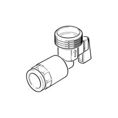 "Angled Washing Machine Tap - 15mm Push-fit x 3/4"" BSP"