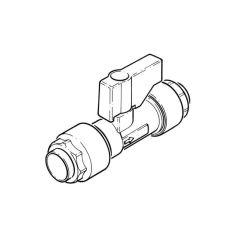 Straight Isolating Valve Push-fit - 15mm Blue Handle