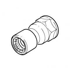 "Conex Push-fit Straight Connector - 15mm x 1/2"" BSP F"