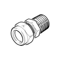 "LPG Metric Compression Straight Adaptor 15mm x 1/2"" BSP TM"