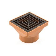 Square Hopper - 110mm Solvent Socket, 150mm Grid