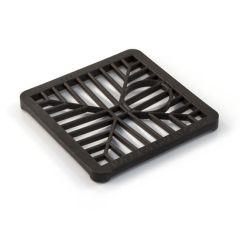"Square Hopper Drain Grid - 150mm (6"") Black Plastic"