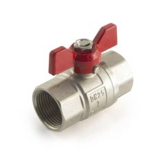 """Ball Valve - 1"""" BSP PF Red Butterfly Handle"""