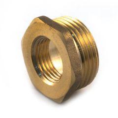 """Brass Threaded Hexagon Bush 1"""" BSP PM x 1/2"""" BSP PF"""