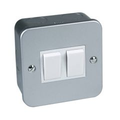 Surface Mounted Plate Switch - 10A, 2 Gang, 2 Way