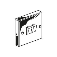 Plate Switch - 10A, 2 Gang, 2 Way, Chrome