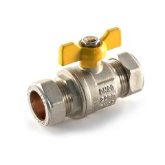 Gas Ball Valve 22mm Compression Yellow Butterfly Handle