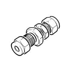 LPG Metric Compression Bulkhead Coupling - 22mm