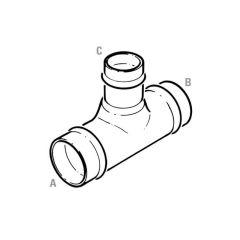 Solder Ring Reducing Branch Tee - 22mm x 22mm x 15mm