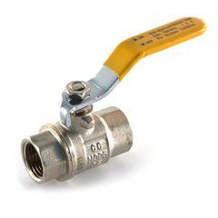 "Gas Ball Valve - 3/4"" BSP PF Yellow Lever Handle"