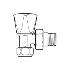 Radiator Valve Plated Brass Angled - 8mm