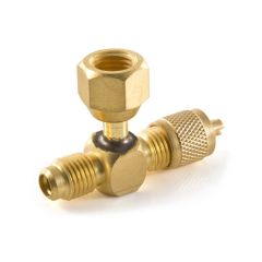 Access Tee - Female Swivel On Branch, With Valve Core Depresser.