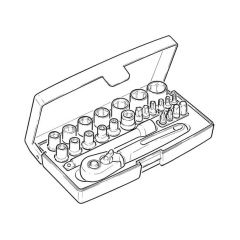 "Bahco SL25 Socket Set - 1/4"", 25 Pieces"