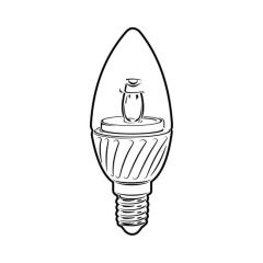LED Candle Bulb - 5W SES Clear, 420 lm