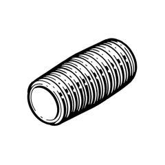 "Close Taper Nipple Mild Steel - 3/8"" Black"