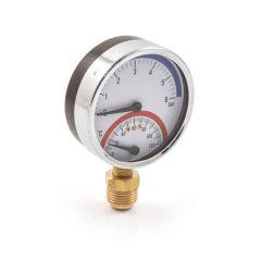 Pressure & Temp. Gauge - 80mm, 0-6 bar, Bottom Entry