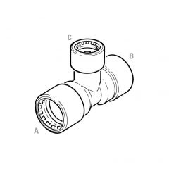 Conex Push-fit Reducing End Tee - 28 x 22 x 28mm