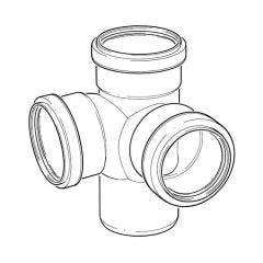 Corner Branch Ring Seal Triple Socket Grey - 110mm