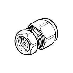 "DN16 Comp. x 1/2"" BSP F Connector - Solar Compression Fitting"