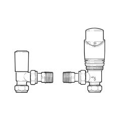 Drayton TRV4 Angled TRV & Lockshield Set - 15mm