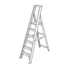 GRP Platform Step Ladder - 8 Treads
