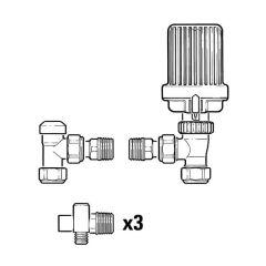 Honeywell Home VTL15 Angled TRV & Lockshield 10mm, 15 Pack