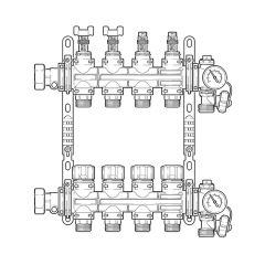 Inta Underfloor Heating Polymer Manifold - 4 Ports