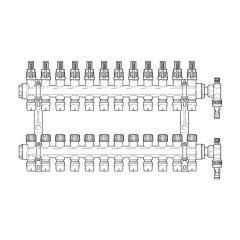 Inta Underfloor Heating Polymer Manifold Push-Fit - 12 Ports